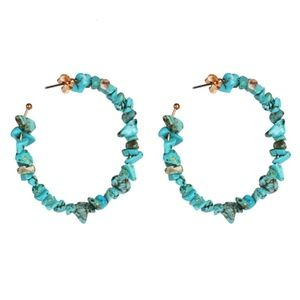 Turquoise Stone Round Large Trendy Hoop Earrings